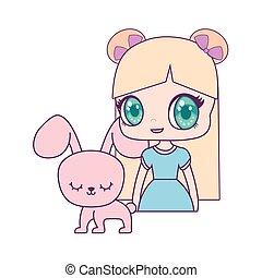 cute little doll with rabbit animal vector illustration design