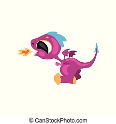 Cute little dragon having fun and breathing with fire. Cartoon character of fantastic animal. Flat vector for sticker, card, kids print, mobile or computer game