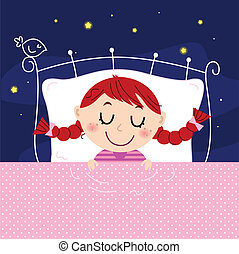 Cute little dreaming girl in bed with sky in the background...