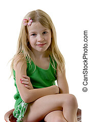eight year old - cute little eight year old girl with flower...