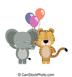 cute little elephant and tiger with balloons helium