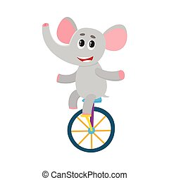 Cute little elephant character riding bicycle, cycling,...