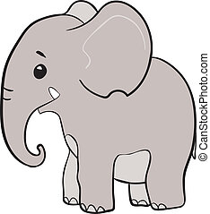 Cute little elephant - Cute little smiling elephant cartoon...