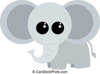 Cute little elephant, illustration, vector on white background.