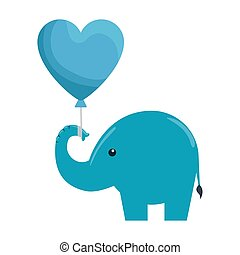 cute little elephant silhouette with heart balloon