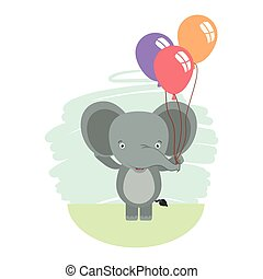 cute little elephant with balloons helium character