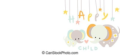 Cute little elephant with mother. Happy child with mom. Cartoon animals characters. Flat vector design for postcard, children s room decor or t-shirt print