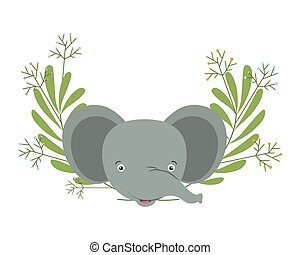 cute little elephant with wreath crown