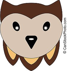 Cute little face eagle owl. Owl head illustration for children. A pretty owl of brown and beige color. Muzzle toy owl with cute ears.