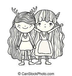 cute little fairies couple characters