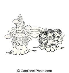 cute little fairies group with castle and rainbow
