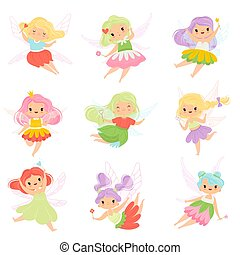 Cute Little Fairies in Colorful Dresses set, Lovely Winged Flying Girls with Magic Wands Vector Illustration