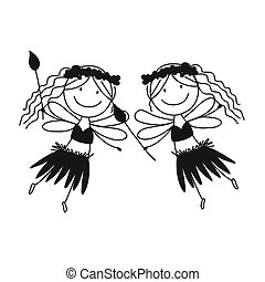 Cute little fairies, sketch for your design