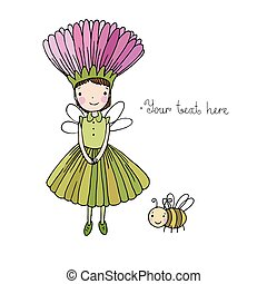 Cute little fairy and bumblebee. Hand drawn vector illustration.