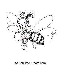 Cute little fairy and the bee