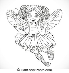 Cute little fairy girl in lush dress with a Magic wand outlined for coloring isolated on a white background