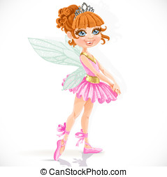 Cute little fairy girl in tiara isolated on a white background