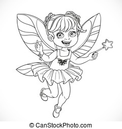 Cute little fairy girl with a Magic wand  outlined isolated on a white background