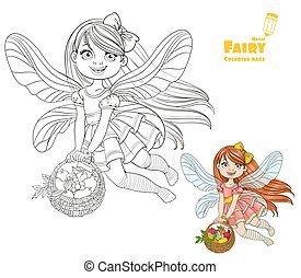 Cute little fairy girl with a round wicker basket filled fruit color and outlined picture for coloring book on a white background