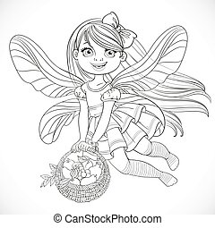Cute little fairy girl with a round wicker basket filled fruits outlined for coloring isolated on a white background