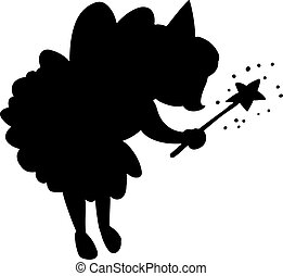 Cute little fairy princess with magic wand black silhouette
