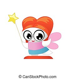 Cute little fairy with big eyes isolated on white background. Vector illustration.
