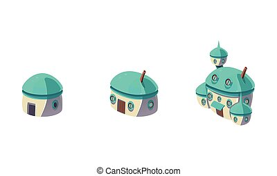 Cute little fantasy house and caastle set, fabulous city, town, village design elements for computer game Interface vector Illustration on a white background