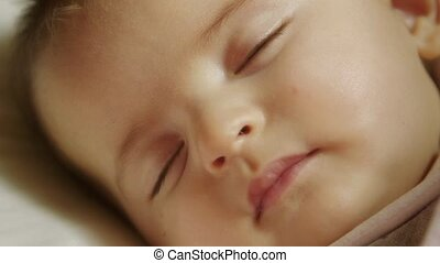Cute little female child napping