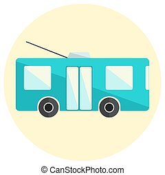Cute little flat trolley bus icon