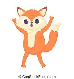cute little fox animal cartoon isolated icon design