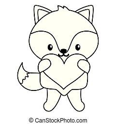 cute little fox baby with heart