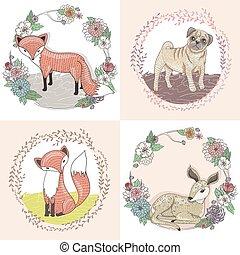 Cute little fox, deer and pug