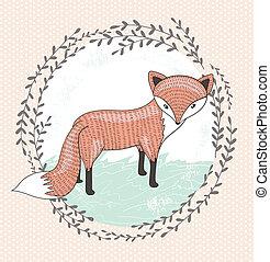 Cute little fox illustration for children.