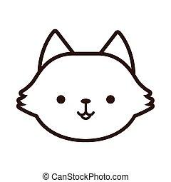 cute little fox kawaii animal line style
