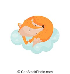 Cute little fox sleeping on a cloud, lovely animal cartoon character, good night design element, sweet dreams vector Illustration