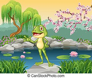 Cute little frog presenting
