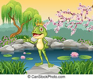 Cute little frog prince presenting