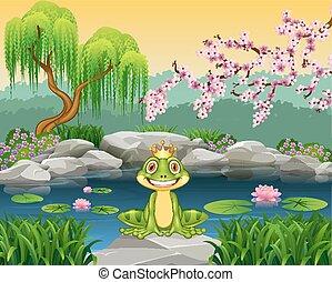 Cute little frog sitting