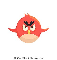 Cute little funny red chick bird flying colorful character vector Illustration