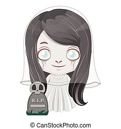 Cute little ghost girl illustration