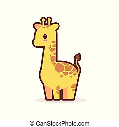 cute little giraffe cartoon comic character with smiling face happy emoji anime kawaii style funny animals for kids concept