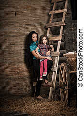 little girl, a child with mother