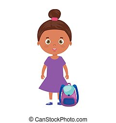 cute little girl afro with school bag