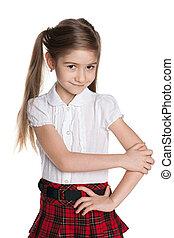 Cute little girl against the white