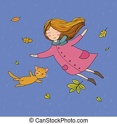 Cute little girl and a cute cartoon cat flying with autumn leaves.