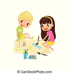 Cute little girl and boy sitting on the floor and drawing paints on large sheet of paper, education and child development concept vector Illustration