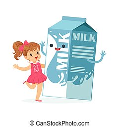 Cute little girl and funny milk carton box with smiling human face playing and having fun, healthy childrens food cartoon characters vector Illustration