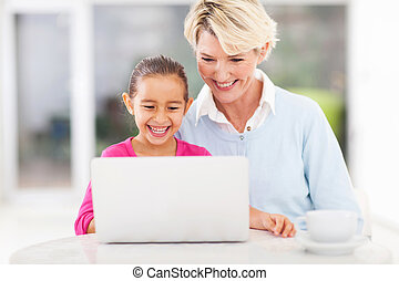 cute little girl and granny using laptop at home