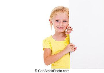 cute little girl behind banner