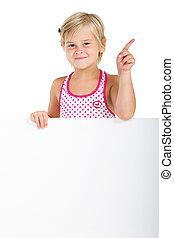 girl behind white board